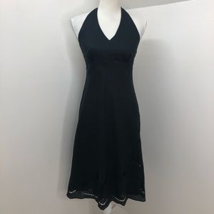 Ann Taylor Black Floral Linen Halter Top Dress 4